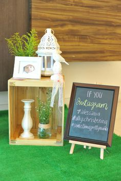 Christening Party for Ally (Noah's Ark Theme) | Styling by Something Pretty Manila | Memorabilia Corner | Chalkboard Instagram