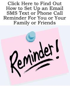 Use this to remind yourself or your family about all sorts of things http://www.ebay.co.uk/itm/How-to-Set-Up-an-Email-SMS-Text-or-Phone-Call-Reminder-to-Yourself-or-Family-/150856320009?pt=US_Other_Software=item231fbcc409