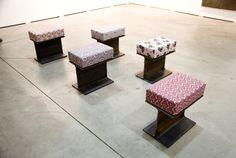 "Sonia Leimer ""I-Träger"" (2015), steel, foam rubber, upholstery Galerie Nächst St. Stephan, Vienna St Stephan, Contemporary Art, Stool, Vienna, Furniture, Home Decor, Stones, Decoration Home, Room Decor"