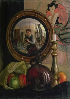 Mark Gertler - Still Life with Self-Portrait 1918