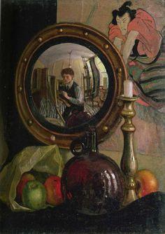 Mark Gertler - Still Life with Self-Portrait 1918