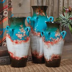 Santa Fe Teal Pottery Vases (Set of 3)