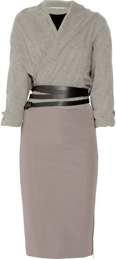 Victoria Beckham Cashmere-blend and Stretch-crepe Dress