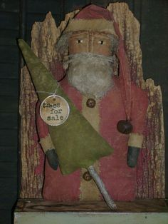 "Primitive Grungy 10"" Christmas Santa Claus Doll ~ Tree ~ Ro's Cluttered Attic #Primitive #RosClutteredAttic"