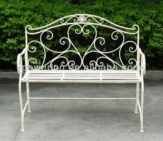 Charles Bentley 2 Seater Wrought Iron Bench Metal Outdoor Seat - Heart Shape Design Rust Proof Finish in White Wicker Couch, Wicker Headboard, Wicker Table, Wicker Dresser, Wicker Trunk, Wicker Mirror, Wicker Shelf, Wicker Bedroom, Wicker Baskets