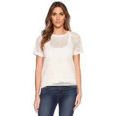 Maison Scotch Eyelet Tee Tops ($72) ❤ liked on Polyvore featuring tops, t-shirts, fashion tops, white t shirt, white tee, maison scotch, embroidered top and white embroidered top