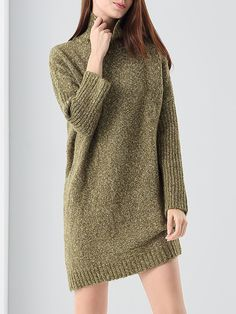 #AdoreWe #StyleWe Dresses - e.fire Olive Green Simple Turtleneck Asymmetric Sweater Dress - AdoreWe.net