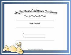 This Free, Printable, Stuffed Animal Adoption Certificate Is inside Toy Adoption Certificate Template – Amazing Certificate Template Ideas Blank Certificate Template, Printable Certificates, Free Pet Adoption, Animal Adoption, Rabbit Adoption, Adoption Papers, Adoption Certificate, Best Templates, Design Templates