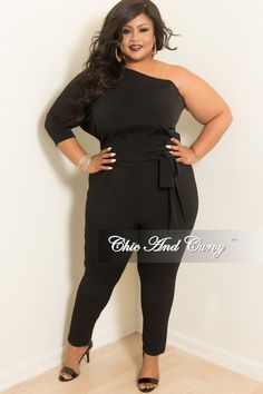 3c0e942475c New Plus Size One Sided Jumpsuit with 3 4 Sleeves and Attached Tie in Black