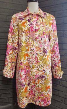 Harve Benard Floral Trench Coat  Womens sz 10 Pink green Spring Jacket #HarvBenard #Trench #Casual