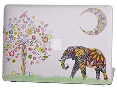 Macbook Air 13 inches Rubberized Hard Case for model A1369 & A1466, Cas Graphique Moon Elephant Design with Clear Bottom Case, Come with Keyboard Cover