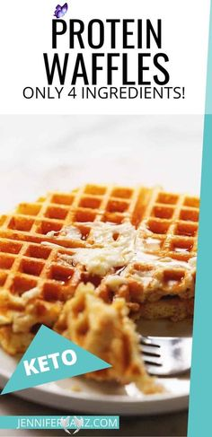Keto Protein Waffles - Only 4 Ingredients! These actually crispy low carb and keto waffles are packed with protein.  Use your favorite whey protein powder, eggs, water, and baking powder to make these delicious and healthy protein waffles.<br> Whey Protein Recipes, Protein Powder Recipes, Protein Foods, Low Carb Recipes, Healthy Protein, Whey Protein Powder, Keto Foods, Health Foods, Healthy Sweets