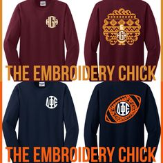 """Are you ready for fall, turkeys and football! Flash Sale this week only!  Several Aztec designs available on the """"What's New"""" tab of our website.  Shirt provided has large design on back with monogram on the front left chest, or you can select just the large design on front of shirt. Only $22 shipped!"""