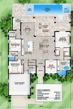 Mediterranean Style House Plan 52932 with 3 Bed, 3 Bath, 2 Car Garage - Coastal Florida Mediterranean House Plan 52932 Level One - House Plans One Story, Family House Plans, Country House Plans, New House Plans, Dream House Plans, Modern House Plans, Story House, Modern House Design, House Floor Plans