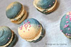 Macarons bicolor de mantequilla de cacahuete -  peanut butter bicolour macarons