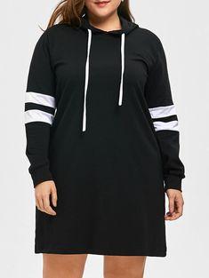 Plus Size Striped Longline Hoodie, BLACK, 4XL/20---24.78