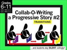 """Collab-O-Writing is an activity where students work to create a story by passing it around the room, adding a line at a time. The activity is completed in silence- willingly! Some teachers call it a progressive story or """"an exquisite corpse.""""This particular Collab-O-Writing lesson focuses on TRANSITIONS.This PowerPoint is the basis of the lesson."""