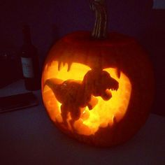 These Pumpkins Are Better Than Yours — But There's Still Time #refinery29  http://www.refinery29.com/pumpkin-carving#slide-17  Dinosaur pumpkin art, trending since 70 million B.C....