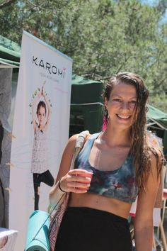 Beautiful smile and a lovely bustier ... With Sarah Katharina Finger at the Barcelona Yoga Conference, 2014