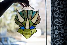 Stained Glass Triceratops by LuneRoom on Etsy Window Ledge, Stained Glass Suncatchers, Sun Catcher, Horns, Creative, Etsy, Instagram, Art, Art Background