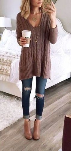 fall fashion casual knit denim