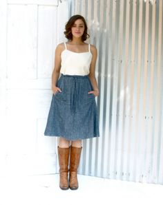 Nevada Pocket Wrap Skirt, gray or blue denim, flower print, and more patterns to choose from.