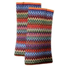 A selection of zig-zag knitted gauntlets (fingerless gloves), made from a mix of fine Merino wool and Angora yarns. 75% Merino Wool and 25% Angora Wool.  Available in matching hats and scarves.