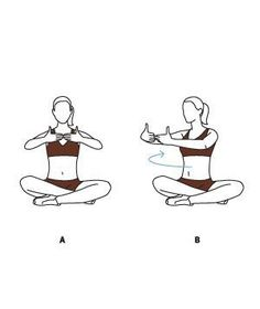6 Easy Lower Abdominal Exercises!  Move 6: Torso Twist  (A) Sit cross-legged and stretch your arms out in front of you, with your fingertips touching. Breathe in. (B) With your hips square and abs tight, breathe out as you slowly rotate your upper body about 45 degrees to the right. Return to the center and repeat on your left side. Complete 10 reps.