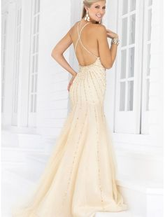 Chiffon Halter Strap Beaded Mermaid Prom Dress with Backless Bodice