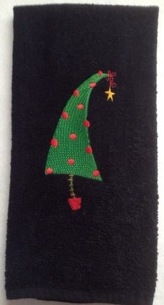 Retro Christmas tree on a black kithen or bath by PJSEMBROIDERY, $10.00