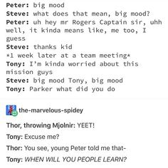 I choked when I read this I love this headcanon so much . vine memes references yeet Thor Tony Stark and Peter Parker Steve Rogers Avengers Memes, Marvel Memes, Marvel Dc Comics, Marvel Avengers, Avengers Cast, Avengers Imagines, Avengers Headcanon, Marvel Tumblr, Spiderman Marvel