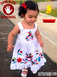 SIZE 2 only Adorable Otomi GIRLS dress embroidered by by ArteOtomi