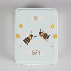 Blikken doosje met opschrift BEE HAPPY- afmetingen 10 x 8 x 4 cm. Perfect voor het bewaren van juweeltjes, knopen, kleine potloden, haarspeldjes, naaigerief.....