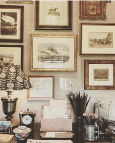 Kind of obsessed with this whole situation. Master study in the showhouse in Savannah, designed by the talented… Picture Wall, Picture Frames, Picture Groupings, Wall Decor, Room Decor, Hanging Art, Home Decor Inspiration, Decoration, Interior And Exterior