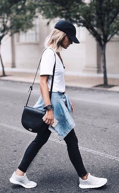 Womens fashion | fall | style | fashion | outfit | street style | adidas | kicks | hat | denim | jacket | casual | hair | blonde  Instagram: @joandkemp