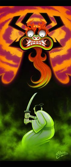 'Long ago in a distant land...' Jack...Jack-Jack-Jack! Fanart from one of my favourite american cartoon series. I simply love Samurai Jack and Aku is one of my favourite villains of all time! <3  Samurai Jack ©Genndy Tartakovsky  Artwork by MacGreen 2012.