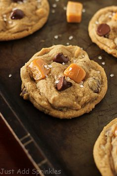 Soft, caramel flavored cookie dough loaded with chocolate chips, soft caramel pieces and sprinkles with coarse sea salt.