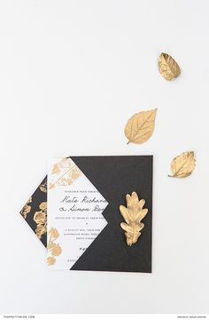 Gold, Black and White Invitation Design | Photography by Wesley Vorster | DIY and Design by White Kite Studio