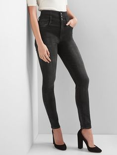 Gap Womens Super High Rise Corset-Waist True Skinny Jeans Washed Black