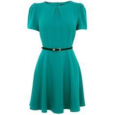 Oasis Crepe Skater Dress, Teal ($76) ❤ liked on Polyvore