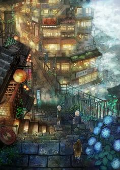 Tags: Anime, City, Store, Little Boy, Building, Scenery, Stairs, by Munashichi