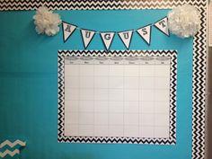 Chevron classroom calendar-love the banner Classroom Wall Decor, Classroom Calendar, Classroom Walls, Classroom Bulletin Boards, Classroom Setting, Classroom Design, Classroom Themes, Classroom Organization, Classroom Management