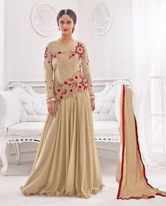 Beige gown with resham embroidered yoke   1. Beige lycra santoon chiffon embroidered gown2. Resham floral embroidery with golden gotta border on bottom3. Comes with matching santoon bottom and  chiffon dupatta4. Can be stitched upto size 42 inches