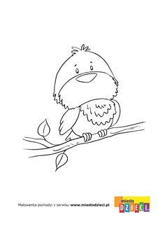 Kolorowanka - Ptaszek na gałęzi - kolorowanka dla dzieci