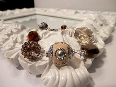 Tan Indonesian and Crystal Bead Bracelet by houseofTROCK on Etsy, $15.00