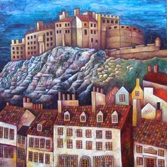Main picture of 'Edinburgh Castle' by Scottish artist Neile Goesch Visit Edinburgh, Edinburgh Castle, Edinburgh Scotland, Over The Years, Places To Visit, Art Gallery, Around The Worlds, Skyline, House Styles