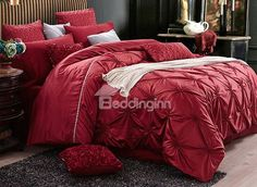 Graceful Pinch Pleat Red 4 Pieces Polyester Bedding Sets #bedding #bedroom