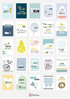 Mijlpaalkaarten baby | Milestone cards | Origineel kraamcadeau | Leg de bijzondere momenten van je kindje vast | Elles Anne Design | Set van 25 | Mijlpaal kaarten