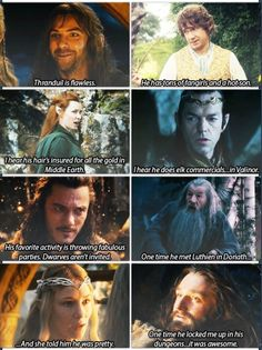 Thorin, though. :DD I mean, i would say this too. Actually i would beg to him to kepp me in his dungeons. :D Also you can always find an appropiate Bilbo facial expression which suit everything. Tauriel, Legolas And Thranduil, Thranduil Funny, Kili, Hobbit Funny, Concerning Hobbits, J. R. R. Tolkien, Desolation Of Smaug, Into The West
