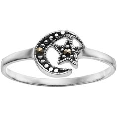 Sterling Silver Marcasite Moon & Star Ring ($14) ❤ liked on Polyvore featuring jewelry, rings, accessories, grey, marcasite rings, sterling silver star jewelry, sterling silver jewellery, star ring and grey jewelry
